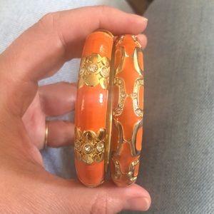 Set of orange enamel bracelets